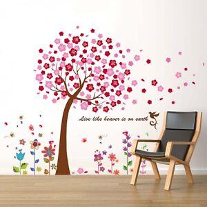 Sticker mural chambre enfant gar on fille arbre et fleurs ebay for Pochoir chambre garcon