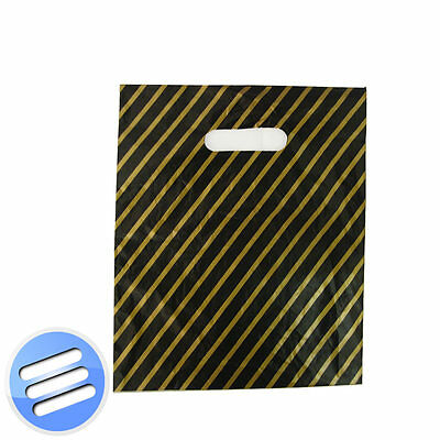 100 BLACK AND GOLD STRIPE PUNCH HANDLE PLASTIC CARRIER GIFT BAGS: Small 9