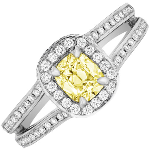 Fancy Yellow Cushion Cut Diamond Engagement Ring GIA 2.75 CT  Platinum