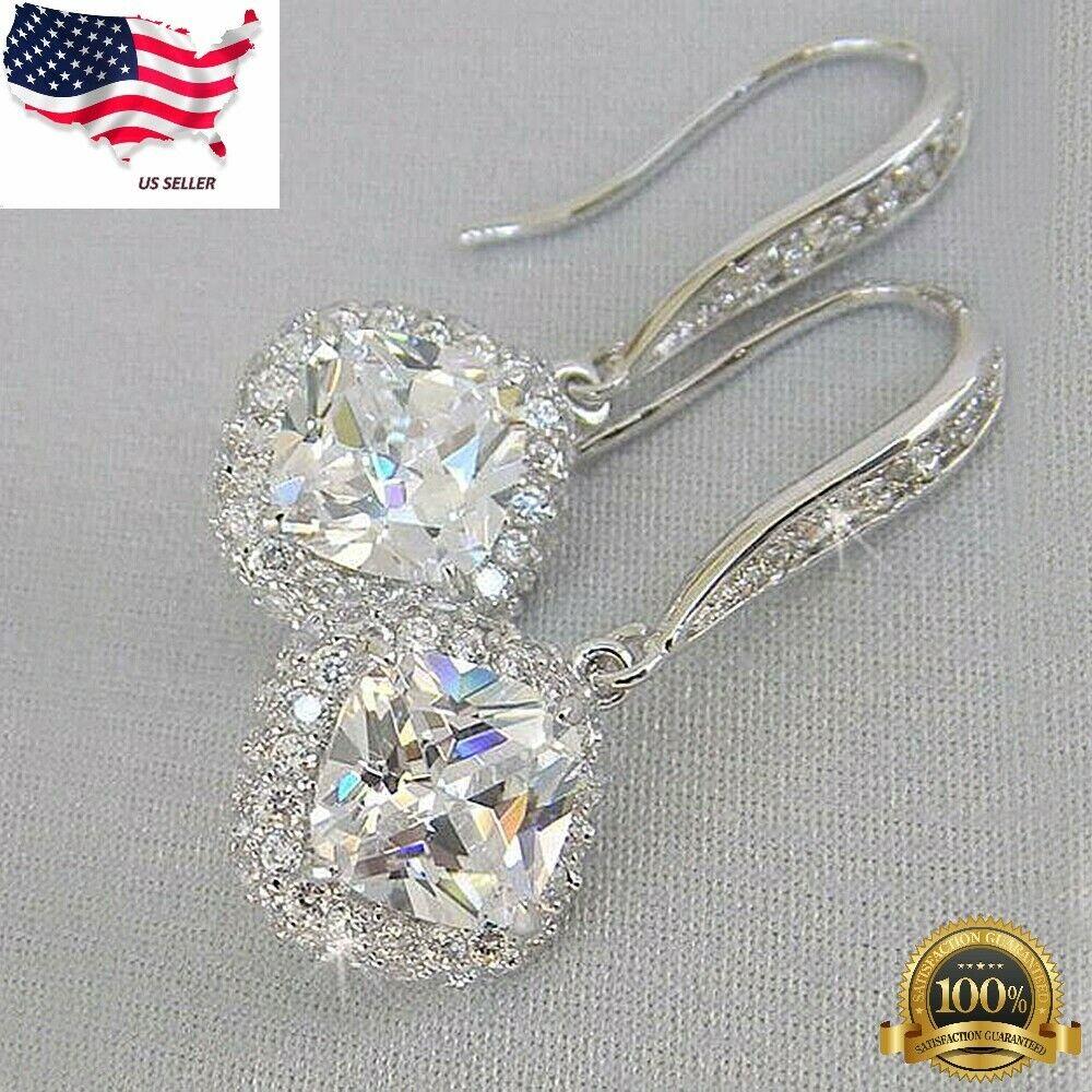 Jewellery - Elegant 925 Silver Drop Earrings for Women White Sapphire Jewelry A Pair/set