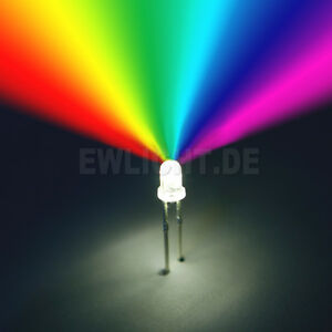 100 LEDs 5mm RGB 2 Pin Farbwechsel automatisch langsam LED REGENBOGEN + Zubehör