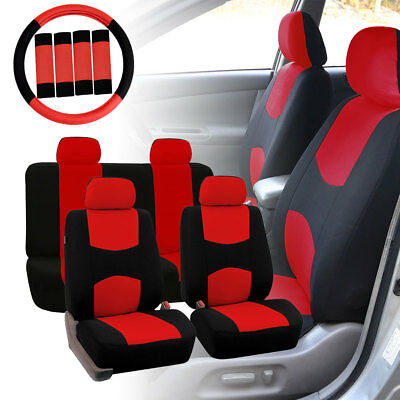 Car Seat Covers Red Black Full Set Auto SUV Van Trucks w/Steering Wheel/Belt Pad Car Seat Belt Cover Pad