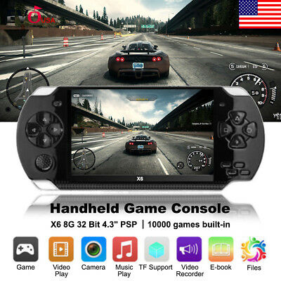 """X6 8G 32 Bit 4.3"""" PSP Portable Handheld Game Console Player 10000 Games mp4 +Cam"""