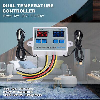 Digital Dual Probe Temperature Controller Regulator Thermostat Incubator Heating