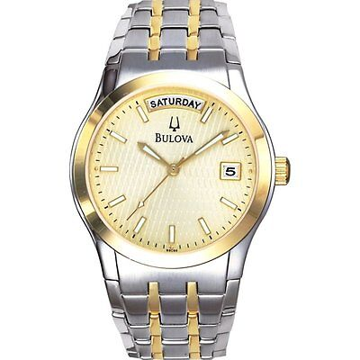 Bulova Men's 98C60 Date & Day Display Gold and Silver Tone Bracelet Watch