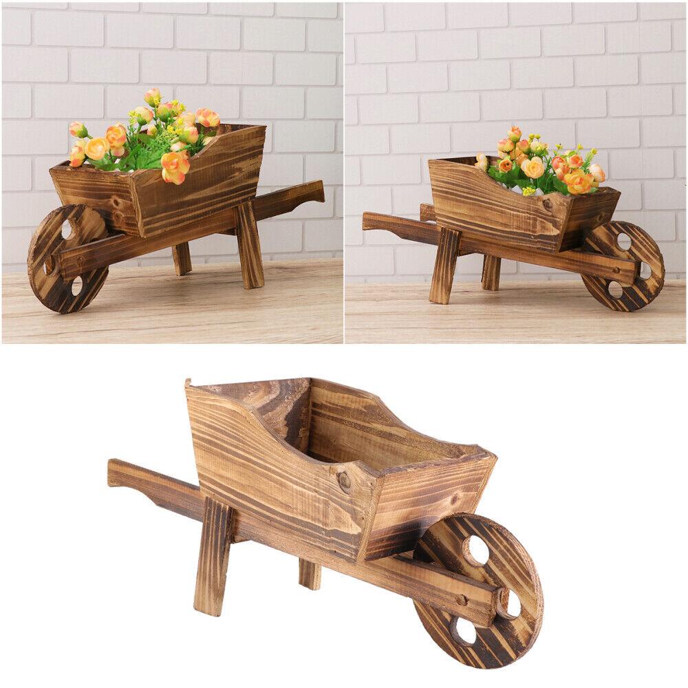 wooden cart flowerpot creative plant pot wheelbarrow