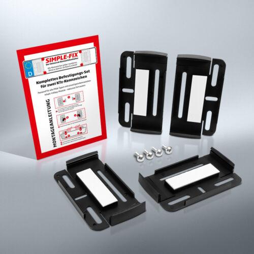 SIMPLE FIX | 2 Kennzeichenhalter  | Rahmenlose Nummernschildhalter | Set | Kfz
