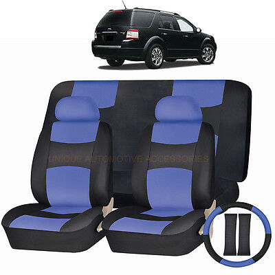 pu leather blue black seat covers 11pc set for ford edge fusion ebay. Black Bedroom Furniture Sets. Home Design Ideas