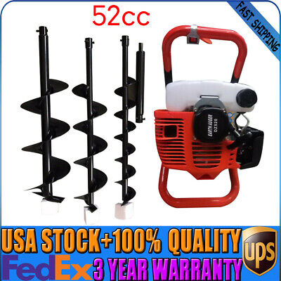 52cc Gas Powered Engine Post Hole Digger Earth Auger 12 Extension Bar 3 Bits