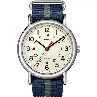 Timex Unisex Casual Weekender Navy Blue/Gray Stripe Slip-Thru Strap Watch T2N654