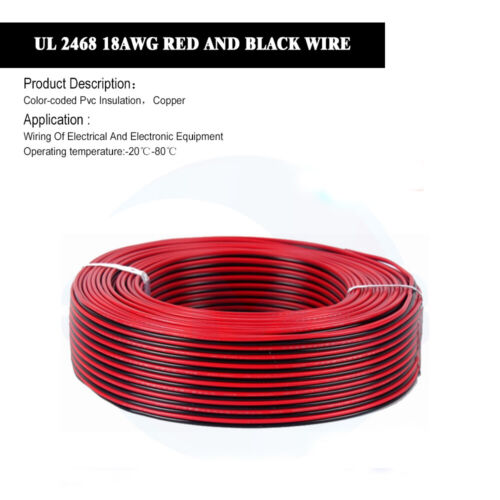 10M 22AWG Red Black Dual Core Electric Cable Wire for instrument lighting