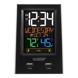 Desktop Dual USB Charging Clock with Alarm and Nap Timer by La Crosse Technology