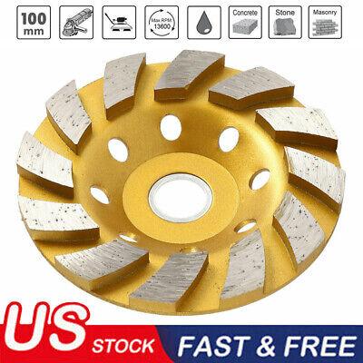 New 4 Diamond Segment Grinding Wheel Disc Grinder Cup Concrete Stone Cut Usa