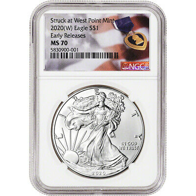2020-(W) American Silver Eagle - NGC MS70 - Early Releases - Purple Heart
