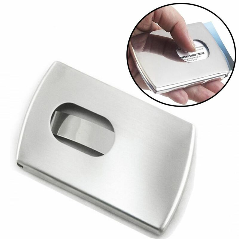 Stainless Steel Modern Thumb Slide Out Pocket Business Credit Card Holder Case