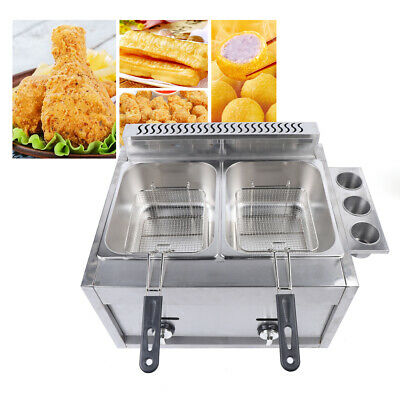 Commercial Countertop Gas Deep Fryer Propanelpg 12l Basket Round Infrared Stove