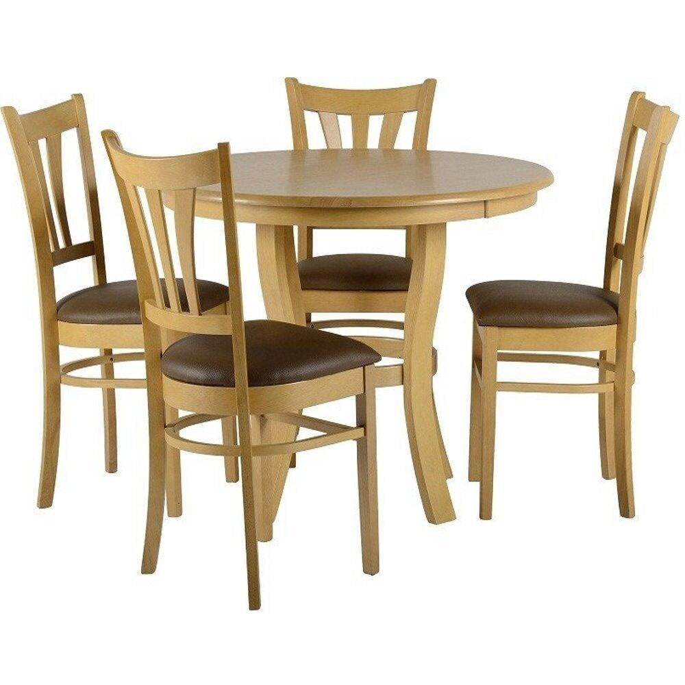 Grosvenor Dining Set D 100cm Round Table 4 Chairs Natural Oak Finish