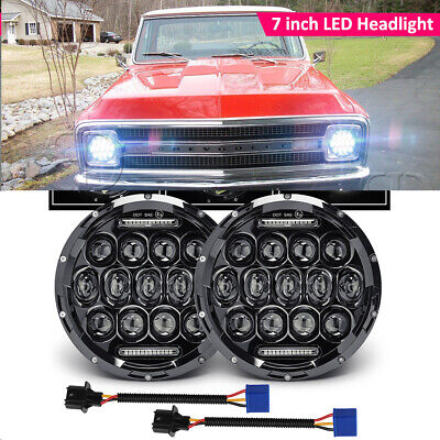 "DOT 7"" Inch LED Headlight HI/LO for Chevy Chevelle Camaro C10 K10 G10 20 Pickup"