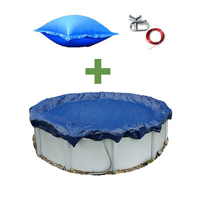 24' ft Turn Swimming Pool Winter Cover + 4x8 Air Closing Pillow