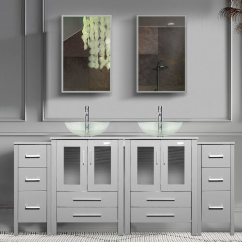 """72"""" Bathroom Vanity Gray Clear Tempered Glass Vessel Sink Small Cabinet Combo"""