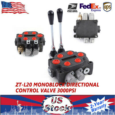 2 Spool Monoblock Hydraulic Directional Control Valve Adjustable 25gpm 90lmin