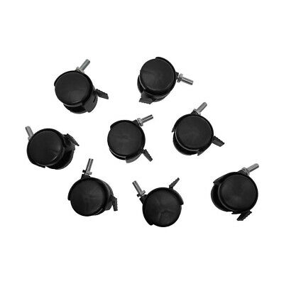 8 Pc 2 Inch Black Pvc Nylon Twin Casters With Brake 38 X 1 Inch Thread Size