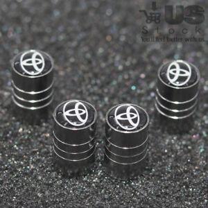 4x Universal Car Wheel Tire Dust Stems Cover Tyre Air Valve Caps Logo For Toyota