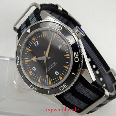 41mm CORGUET miyota Automatic mens watch black dial ceramic bezel sapphire glass