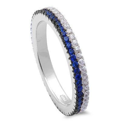 Blue Sapphire & Cubic Zirconia Band .925 Sterling Silver Ring Sizes (Blue Sapphire Cubic Zirconia Ring)