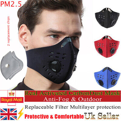 Reusable Washable Face Mask Activated carbon Air Activated with PM2.5 Filter Lot
