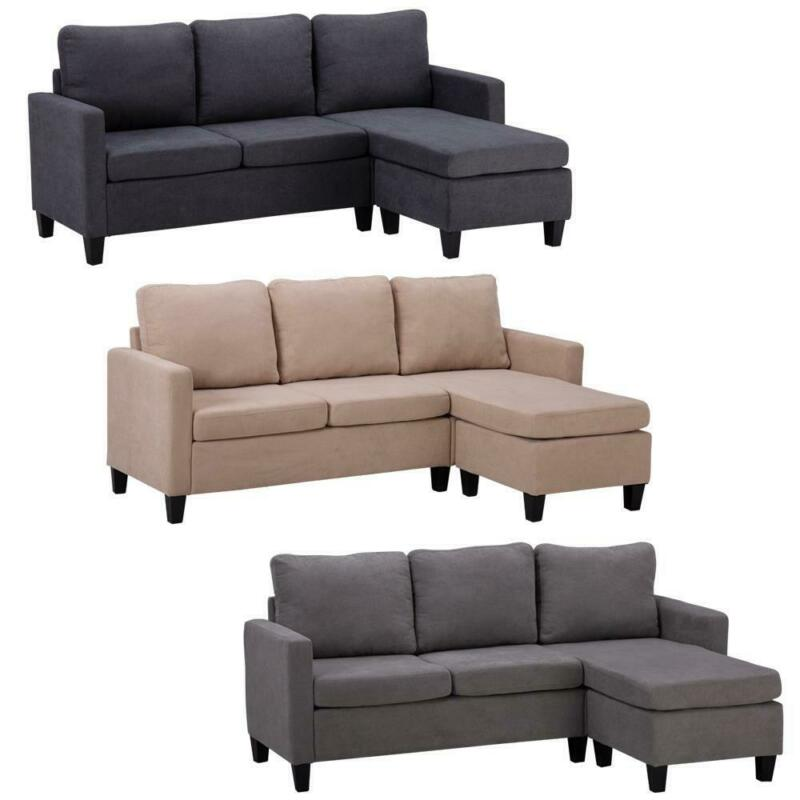 Convertible Sectional Sofa Couch Fabric L-Shaped Home with Cushion