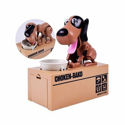 Electricity Stealing Hungry Eating Dog Piggy Bank Money Save Pot Coin Box