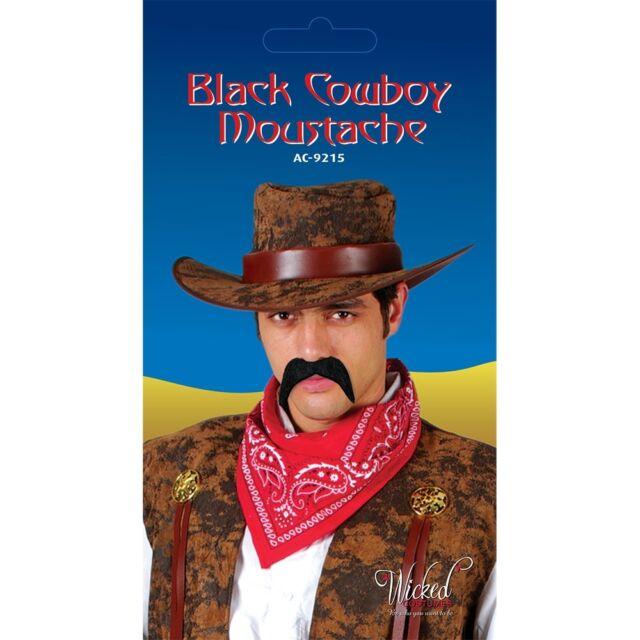 Black Cowboy Tash Fake Moustache Tache for Fancy Dress