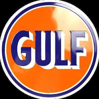 GULF OIL GASOLINE GAS ROUND METAL TIN SIGN GARAGE BARN INDOOR OUTDOOR