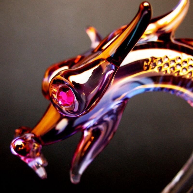 Dragon Serpent Figurine Hand Blown Glass Crystal Ball