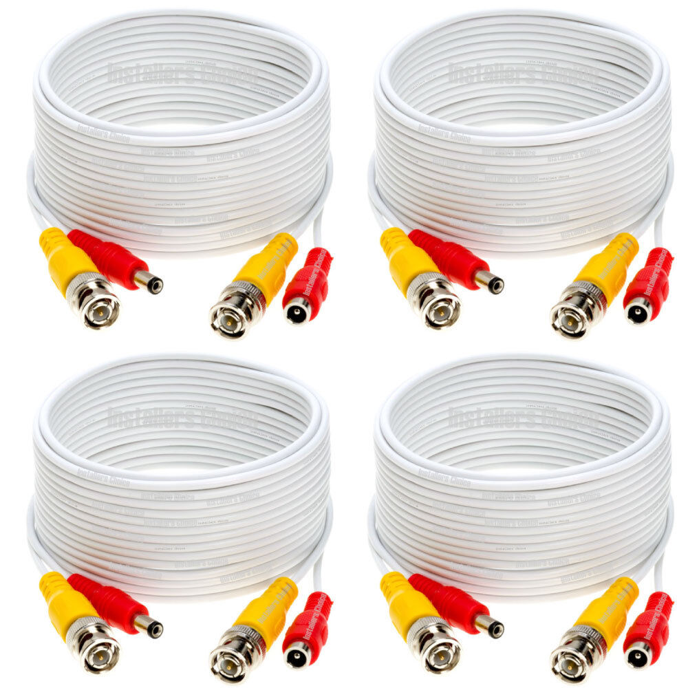 6 x 75ft Security Camera Cable CCTV Video Power Wire BNC RCA White Cord DVR