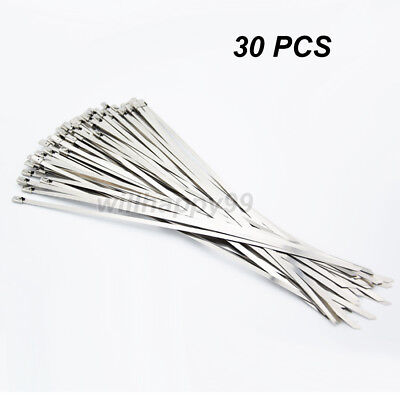 30pcs Strong Chrome Stainless Steel 8 Metal Self Locking Cable Ties Zip Wraps