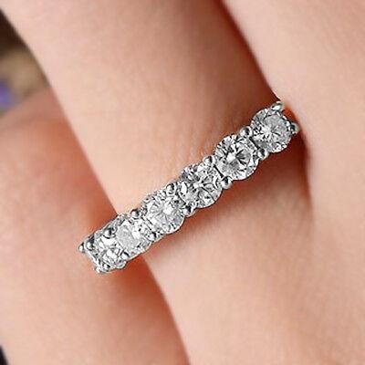 Talla Redonda 7 Piedra Diamante Apilable Alianza 10kt Oro Blanco Media Eternidad