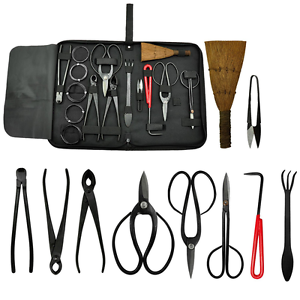 Bonsai-Tool-Kit-Gardening-10-pc-Set-Carbon-Steel-Scissor-Cutter-Shear-Wire-Case
