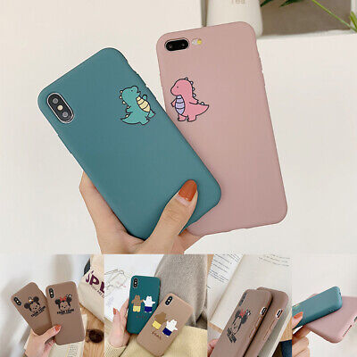 Cartoon Solid Couple Silicone Phone Case Cover For iPhone X 6s 7 8Plus XR Xs Max](Cartoon Couples)