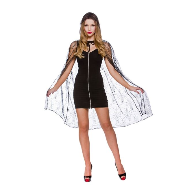 NEW Spider Web Hooded Cape - Ladies Robe Halloween Wicked Fancy Dress Accessory