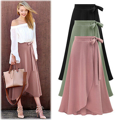 Women Plain High Waist Skirt Front Split Long Skirt Bow Knot ...