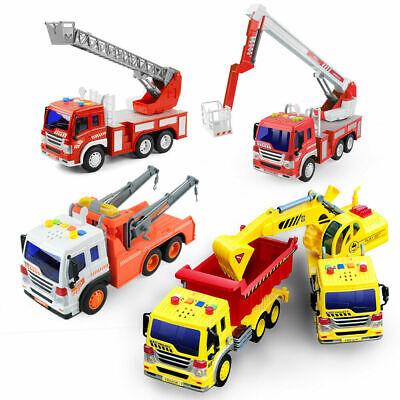 Fire Engine Truck Enginer Kids Car Toys Rescue Ladder Truck Model Light & Sounds