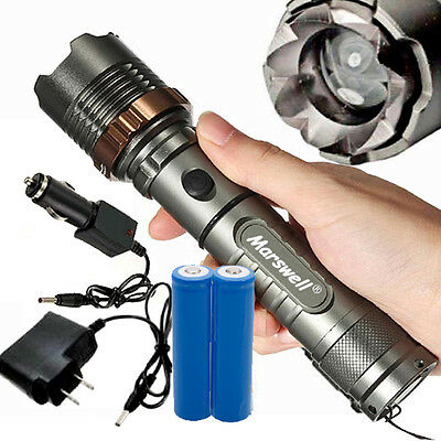 5000Lumen T6 LED Zoom Flashlight Torch Rechargeable with 18650 Battery + Charger