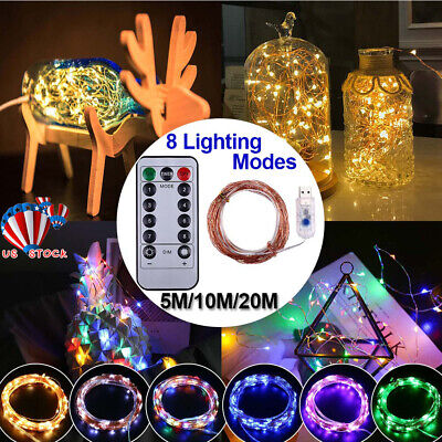 200 LED Micro Copper Wire String Fairy Lights Xmas Party Light Decor USB Plug In Micro Christmas Lights