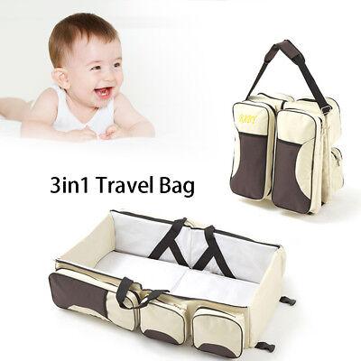 Nylon Baby Bag - 3 in 1 Foldable Nylon Baby Diaper Bag Multi Purpose Beige Travel Bag 1.9ft Baby