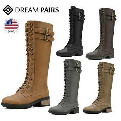 DREAM PAIRS Women Low Heel Winter Faux Fur Lined Knee High Riding Combat