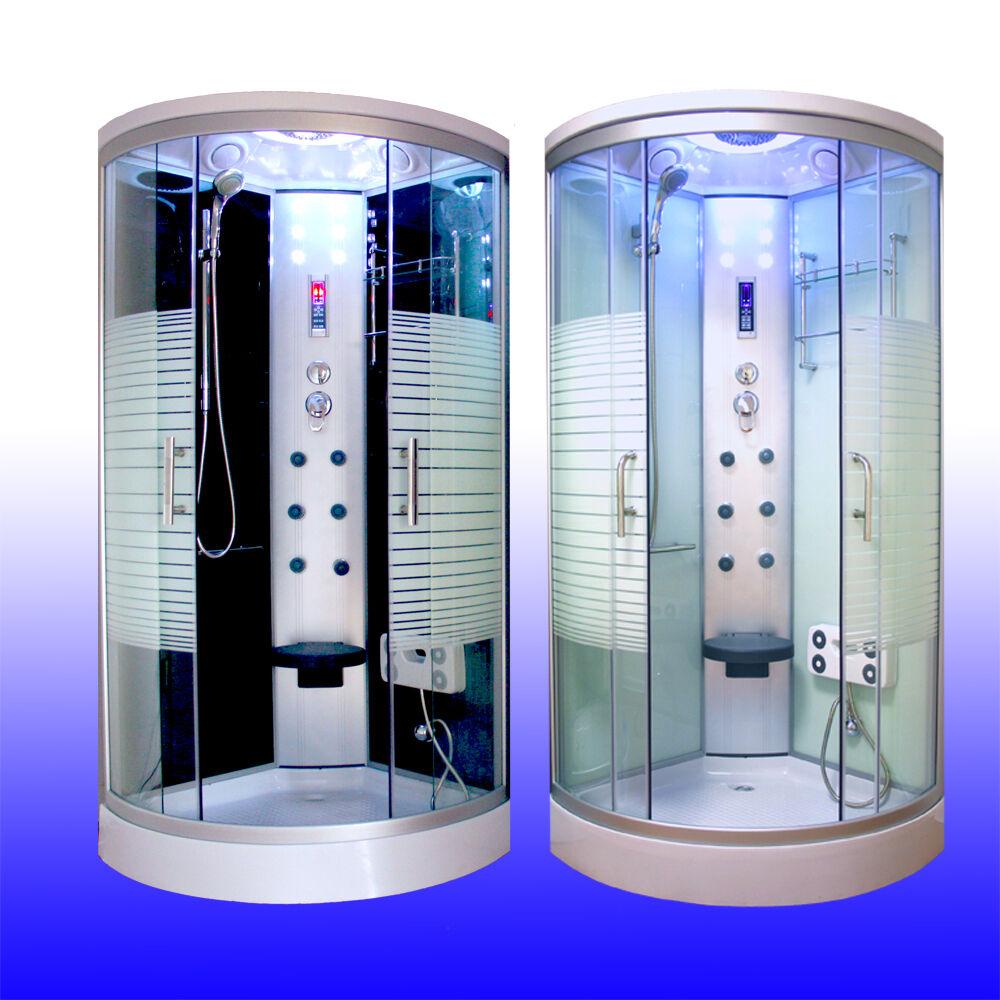 Duschkabine LED Komplettdusche Arielle Schwarz/Weiss Echtglas Dusche 90er/100er