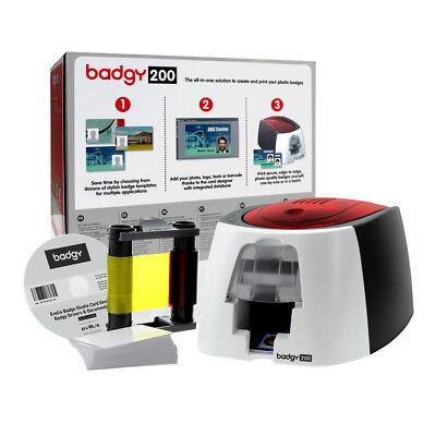 Evolis Badgy 200 Plastic ID Card Printer Starter Kit. Software, Ribbon & Cards - Badgy Drucker
