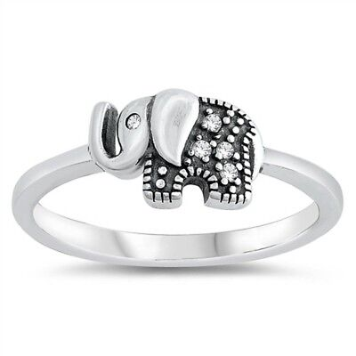 - Cubic Zirconia Elephant Design .925 Sterling Silver Ring Sizes 4-10